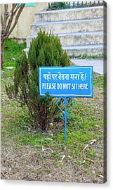 India, Dehradun Bilingual Sign Acrylic Print by Charles O. Cecil