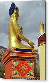 India, Ladakh, Likir, Golden Buddha Acrylic Print by Anthony Asael