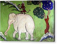 India, Ladakh, Likir, Wall Painting Acrylic Print by Anthony Asael