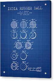 India Rubber Ball Patent From 1935 -  Blueprint Acrylic Print by Aged Pixel