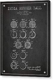 India Rubber Ball Patent From 1935 -  Charcoal Acrylic Print by Aged Pixel
