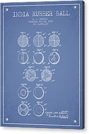 India Rubber Ball Patent From 1935 -  Light Blue Acrylic Print by Aged Pixel