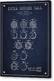 India Rubber Ball Patent From 1935 -  Navy Blue Acrylic Print by Aged Pixel