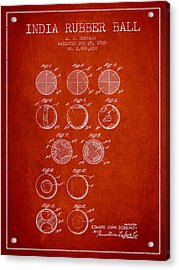 India Rubber Ball Patent From 1935 -  Red Acrylic Print by Aged Pixel