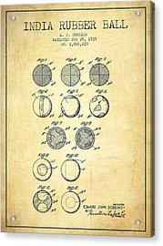 India Rubber Ball Patent From 1935 -  Vintage Acrylic Print by Aged Pixel