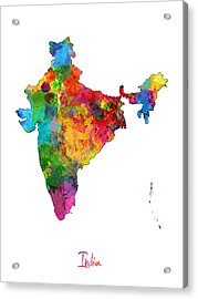 India Watercolor Map Acrylic Print by Michael Tompsett