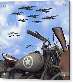 Indian 841 And The B-17 Bomber Sq Acrylic Print by Mike McGlothlen