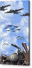 Indian 841 And The B-17 Panoramic Acrylic Print
