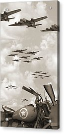 Indian 841 And The B-17 Panoramic Sepia Acrylic Print