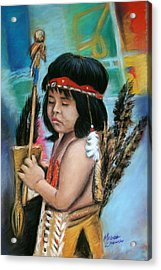 Acrylic Print featuring the painting Indian Boy by Melinda Saminski
