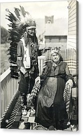 Acrylic Print featuring the photograph Indian Chief And Woman by Charles Beeler