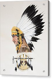 Indian Chief Contemplating Acrylic Print