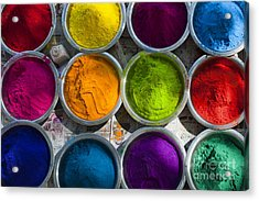 Indian Coloured Powder Bowls Acrylic Print by Tim Gainey
