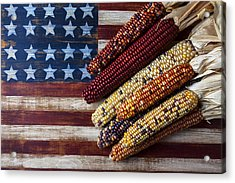 Indian Corn On American Flag Acrylic Print by Garry Gay