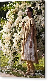 Indian Girl By The Flowery Tree Acrylic Print by Dominique Amendola