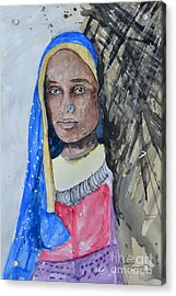 Acrylic Print featuring the painting Indian Girl by Ismeta Gruenwald