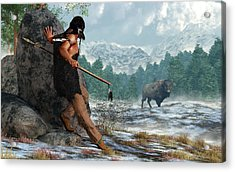 Indian Hunting With Atlatl Acrylic Print