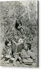 Acrylic Print featuring the photograph Indian Mother With Daughters by Charles Beeler