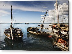 Acrylic Print featuring the photograph Indian Ocean Dhow At Stone Town Port by Amyn Nasser