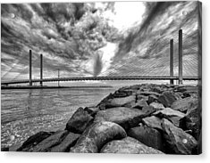 Indian River Bridge Clouds Black And White Acrylic Print