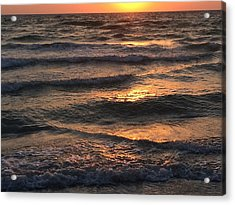 Indian Rocks Beach Waves At Sunset Acrylic Print