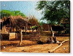 Indian Village Acrylic Print by Deepti Chahar