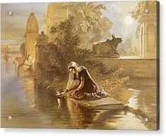 Indian Woman Floating Lamps Acrylic Print by William 'Crimea' Simpson