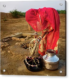 Indian Woman Getting Water From The Acrylic Print