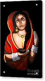Indian Woman With Lamp Acrylic Print by Saranya Haridasan