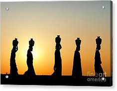 Indian Women Carrying Water Pots At Sunset Acrylic Print