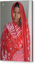 Indian Women In Red Acrylic Print