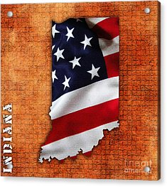 Indiana American Flag State Map Acrylic Print by Marvin Blaine