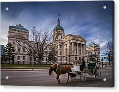 Indiana Capital Building - Front With Horse Passing Acrylic Print