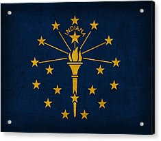 Indiana State Flag Art On Worn Canvas Acrylic Print