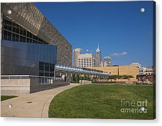 Indiana State Museum And Indianapolis Skyline Acrylic Print by David Haskett