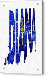 Indiana Typographic Map Flag Acrylic Print by Ayse Deniz