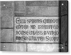 Indiana University Memorial Hall Inscription Acrylic Print by University Icons