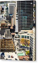 Indianapolis Aerial Picture Of Monument Circle Acrylic Print by Paul Velgos