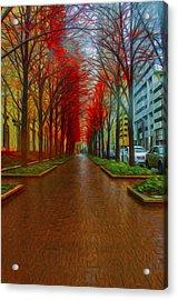 Indianapolis Autumn Trees Oil Acrylic Print by David Haskett