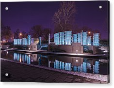 Indianapolis Canal Walk Medal Of Honor Memorial Night Lights Acrylic Print