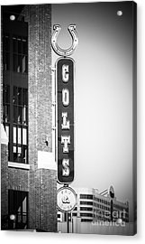 Indianapolis Colts Sign Picture In Black And White Acrylic Print by Paul Velgos