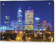 Indianapolis Indiana Digitally Painted Night Skyline Blue 3 Acrylic Print by David Haskett