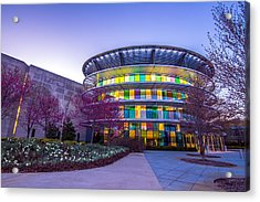 Indianapolis Museum Of Art Blue Hour Lights Acrylic Print
