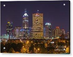 Indianapolis Night Skyline Echo Acrylic Print