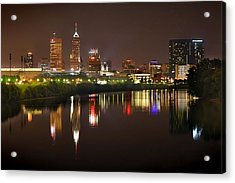 Indianapolis Skyline At Night Indy Downtown Color Panorama Acrylic Print by Jon Holiday