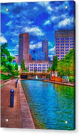 Indianapolis Skyline Canal View Digitally Painted Blue Acrylic Print