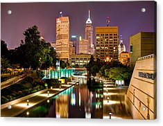 Acrylic Print featuring the photograph Indianapolis Skyline - Canal Walk Bridge View by Gregory Ballos