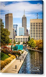 Indianapolis Skyline Picture Of Canal Walk In Autumn Acrylic Print by Paul Velgos