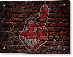 Indians Baseball Graffiti On Brick  Acrylic Print
