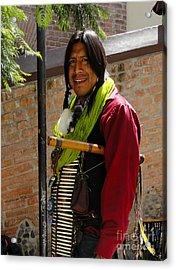 Indigenous Flute Player Acrylic Print by Al Bourassa